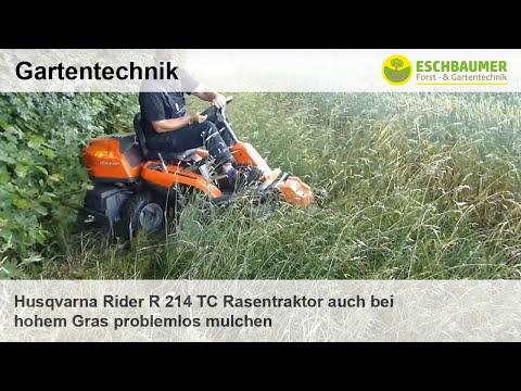 Husqvarna Rider R 214 TC Rasentraktor auch bei hohem Gras problemlos mulchen