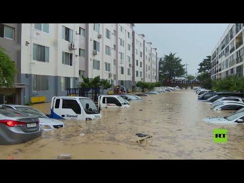 العرب اليوم - شاهد: فيضانات تغمر شوارع دايجون الكورية وتدمر مئات المنازل فيها