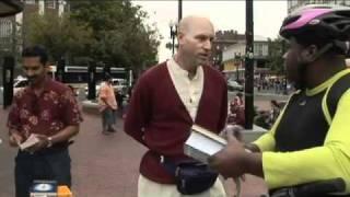 Hare Krishna in Harvard square - Vaisesika distributes books about Bhakti Yoga