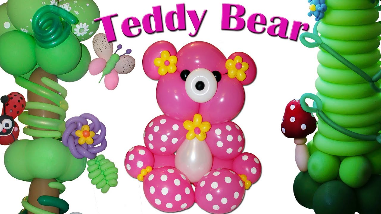 Loving teddy bear made in balloons