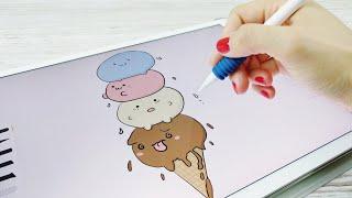 Drawing Ice Cream - Kawaii Doodle on iPad | Apple Pencil
