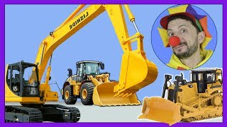 Funny Clown Bob | Learn Construction vehicles Excavator Bulldozer Tractor Truck | Video for kids
