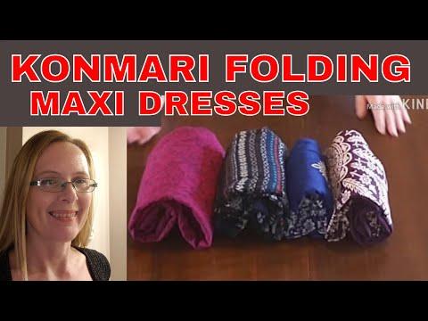 Konmari folding maxi dresses/sun dresses   how to konmari fold dresses with elasticized chest