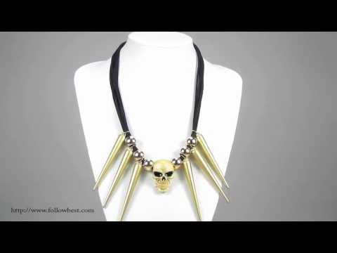 Cool Skull Head and Spike Statement Necklace