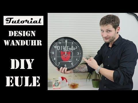 Wanduhr umbauen | DIY Eule | Zifferblatt selbst gestallten | Tutorial | 40 cm Uhr | Uhrenbauer