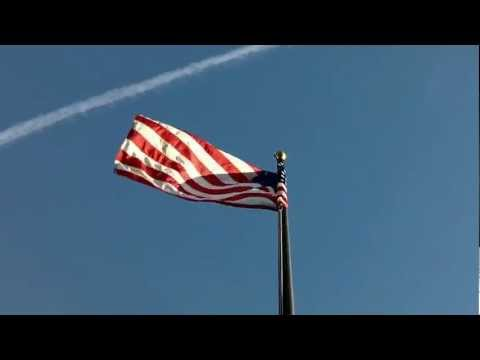 FlagDesk.com | American Flag on Rotating Truck Flagpole in 40 mph Winds