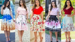 Mid Summer Wear Knee Length Floral Skater Skirt Dresses 2020 //Latest Midi Dresses 2k20