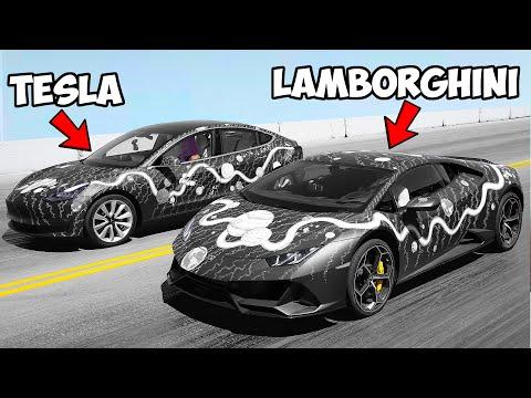 Custom Lamborghini Vs Tesla - Winner Keeps Car