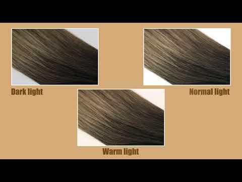 Full Shine Balayage Human Hair Halo Extensions Brown and Blonde (#1b/6/27)
