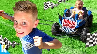 Strength Challenge! Kids Run the American NINJA Warrior OBBY 2 in Real Life! KIDCITY