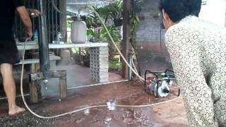 Charcoal gasifying , test with water, Made in Thailand, Nong Khai, Pho Tak, Dan Si Suk