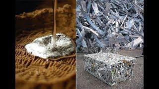 Forja a carvão para derreter alumínio.
