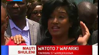 Esther Passaris condoles with the families after building at Precious Talent School collapses