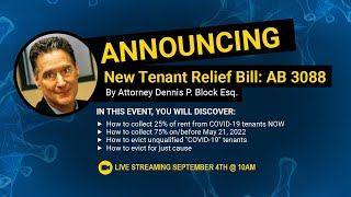 ANNOUNCING New Tenant Relief Bill: AB 3088