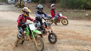 Kids riding Dirt bikes, drag racing, and big jumps at High Falls MX