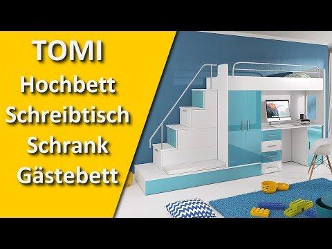 TOMI Hochbett Schreibtisch Schrank und Gästebett - Alles in einem Möbelset für Kinder
