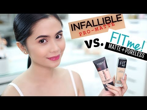 FOUNDATION FACE-OFF: L'OREAL Infallible Pro-matte vs. MAYBELLINE Fit Me Matte+Poreless   Anna Cay ♥