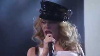 Kylie Minogue in Black Latex Skirt