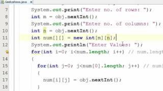 80. Dynamic Memory Allocation in Two Dimensional Array Java Programming (Hindi)