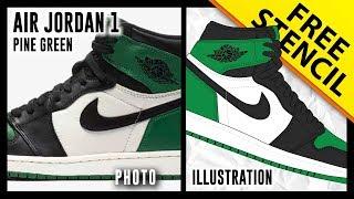 Air Jordan 1 Pine Green - Digital Illustration
