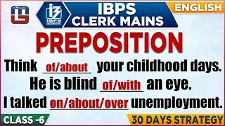 Preposition | IBPS Clerk Mains 2018 | English | 1:00 PM