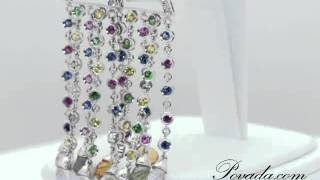 Multi Colored Gemstone Diamond Chandelier Earrings In White Gold [E3931]