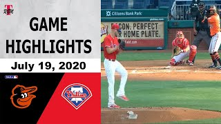 Philadelphia Phillies Vs Baltimore Orioles Highlights - July 19, 2020