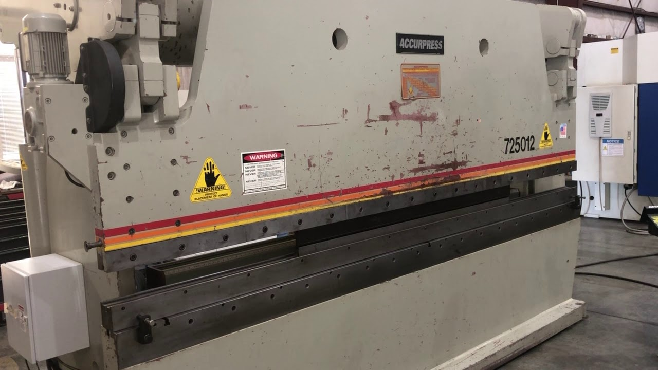 1997 Accurpress 725012, 12' x 250 Ton 2 Axis CNC Hydraulic Press Brake