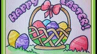 How to draw Easter Stuff Eggs in Basket easy step by step or download pattern