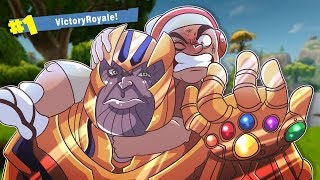 FINALLY!! MY FIRST VICTORY!! AND TAKING DOWN THANOS!!? [FORTNITE BATTLE ROYALE]