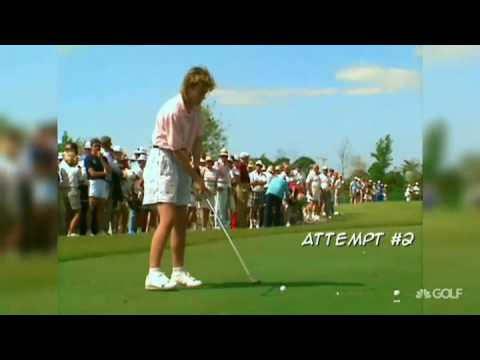 Golfer tees off into the crowd hitting the same woman twice.