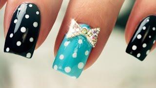 Dots and Bows on Short Nails - Nail Art