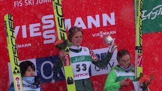 ❅2017.1.15スキーワールドカップジャンプ女子表彰式マーレンルンビ選手インタビューFISWorldCupSkiJumpingLadiesJAPANSapporo