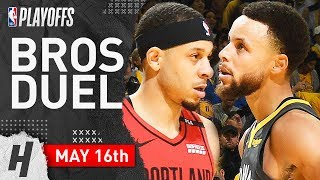 Stephen Curry vs Seth Curry Game 2 Duel Highlights 2019 NBA Playoffs WCF - 37 Pts for Steph!