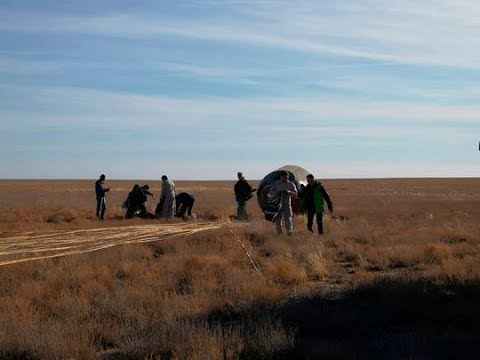 first moments after Soyuz MS 10 lands in Kazakh steppe after launch failure