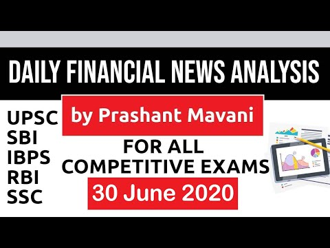 Daily Financial News Analysis in Hindi - 30 June 2020 - Financial Current Affairs for All Exams
