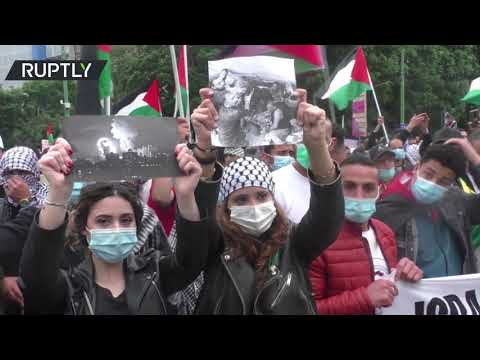 Hundreds of pro-Palestinian protesters gather in Milan to demonstrate against Israel