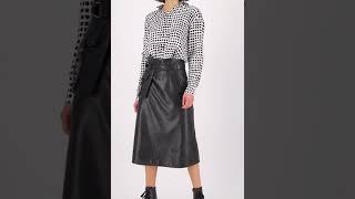 Vorschau: Midi Lederimitat Rock mit seitlicher Tasche