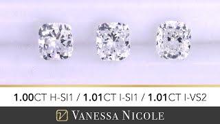 1ct CUSHION CUT DIAMOND | Cushion Shape Size Comparison | Diamond Selection For Marty