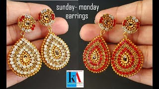 making of Sunday Monday Earrings with pendent // 2 in 1 earrings simple and easy at home