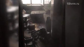 Пожар в многоэтажке в Саранске