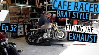 Honda CB750 Cafe Racer Exhaust Pipes and Muffler Ep 32