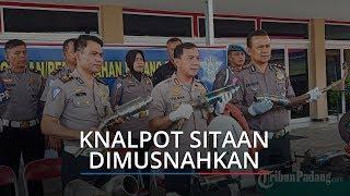 168 Knalpot Racing Hasil Sitaan Satlantas Polresta Padang Dimusnahkan dengan Cara Dipotong