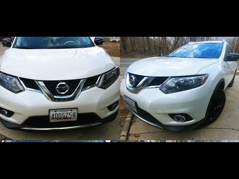White Nissan rogue with Black rims wheel skins customized parts review from Ebay & Amazon