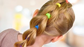 PULL THROUGH BRAID With BRIGHT ELASTICS   Back To School Hairstyle  Little Girls Hairstyles #29 #LGH