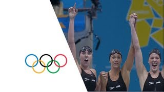 USA Set New Women's 4 x 200m Freestyle Relay Olympic Record - London 2012 Olympics