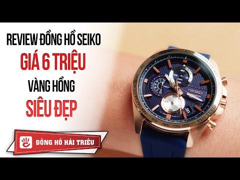 Review đồng hồ Seiko Chronograph giá 6 triệu màu vàng hồng cực đẹp