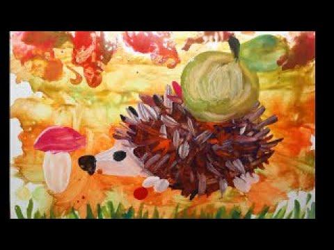 Поэтапное рисование гуашью для детей. Как рисовать ежика,  рисуем ежика поэтапно