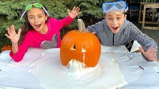 Heidi and Zidane Elephant Toothpaste Science Experiments Halloween Edition