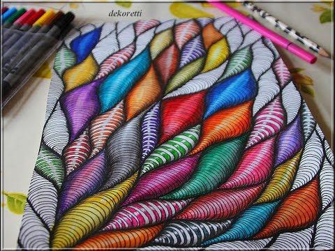 doodle painting bunte Flammen 01